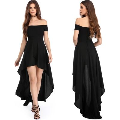 High Low Hem Off Shoulder Party Dress - OASAP.com