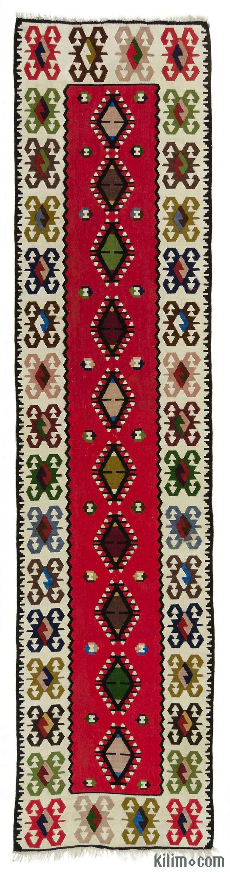 Vintage Sharkoy kilim runner rug around 40 years old and in very good condition.