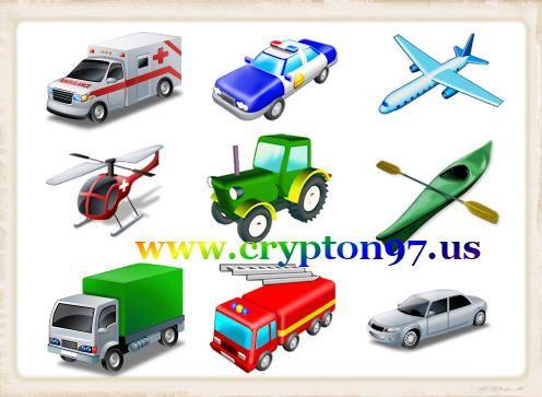 Icon alat transportasi darat, laut dan udara