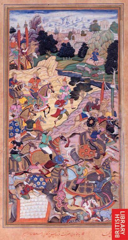 Battle of Panipat (1526) between Babur and Sultan Ibrahim Lodi. A miniature painting from a seventeenth century manuscript of Akbarnama, by Mukund. India, 1603-1604.