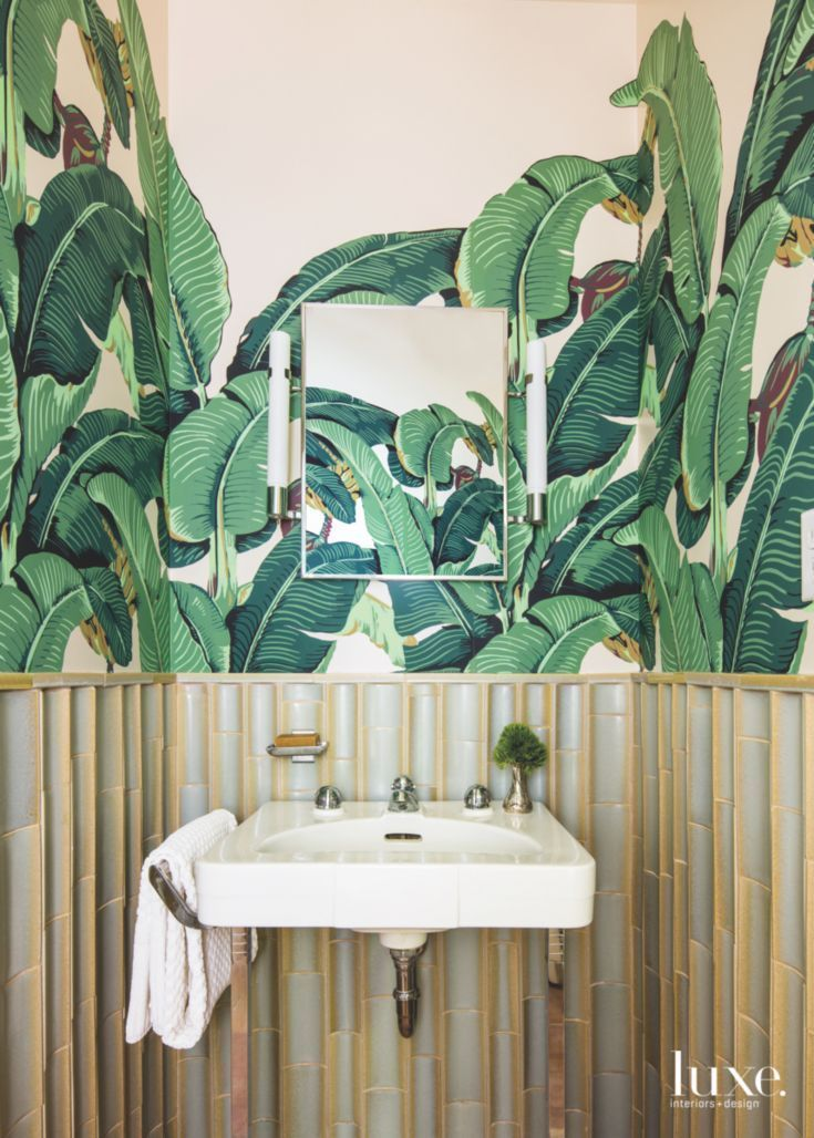 Famous Banana Leaf Powder Room With Bamboo Style Wainscot Walls And Mirror The Owners Asked Kehoe To Brin Wainscoting Dining Room Wainscoting Wainscoting Wall