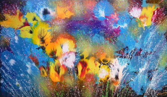 """""""Abstract flowers"""" Large Acrylic Painting"""