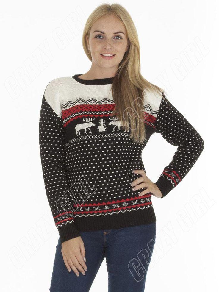 Fair-Isle-Reindeer-Couple-Adult-Womens-Mens-Novelty-Christmas-Jumper-Size-10-12