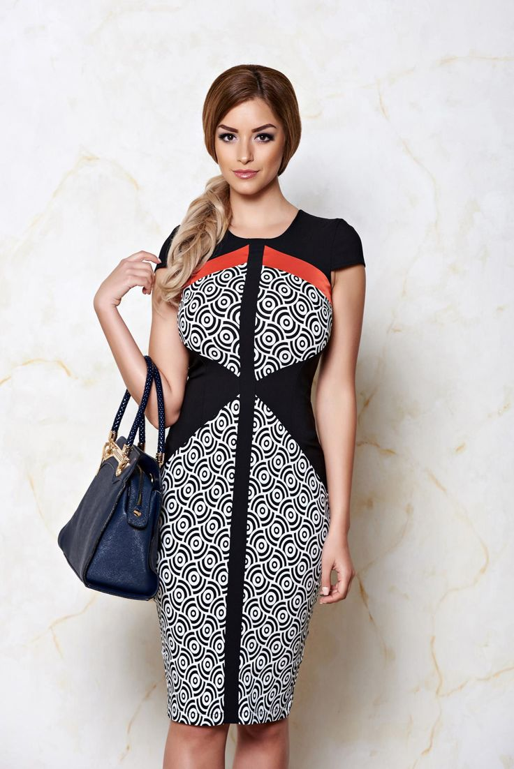 StarShinerS Fashion Day Black Dress, graphic print, form-fitting, back zipper fastening, elastic cotton, elastic fabric