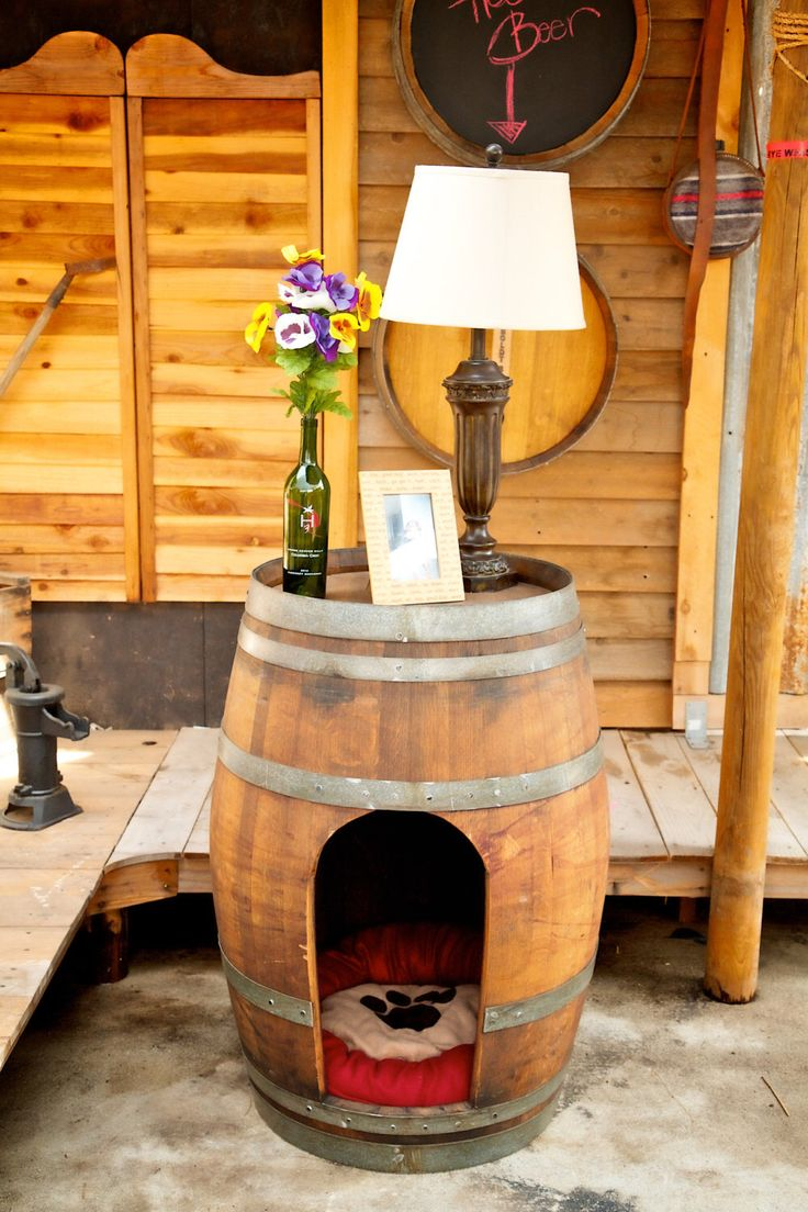 Pet House made from wine or whiskey barrels. Rustic pet houses for dogs or cats. by KingBarrel on Etsy https://www.etsy.com/listing/189384122/pet-house-made-from-wine-or-whiskey