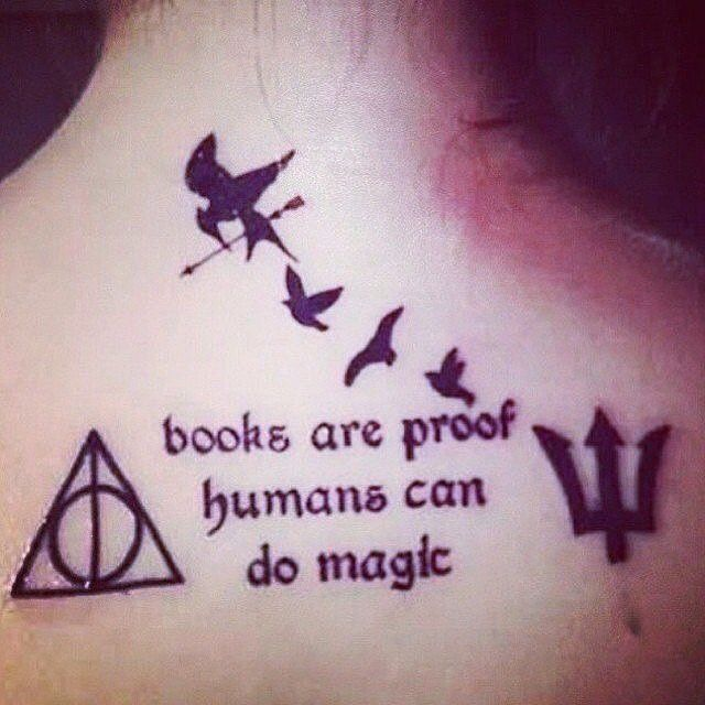 Harry Potter, Divergent, The Hunger Games, and Percy Jackson tattoo ideas for book lovers