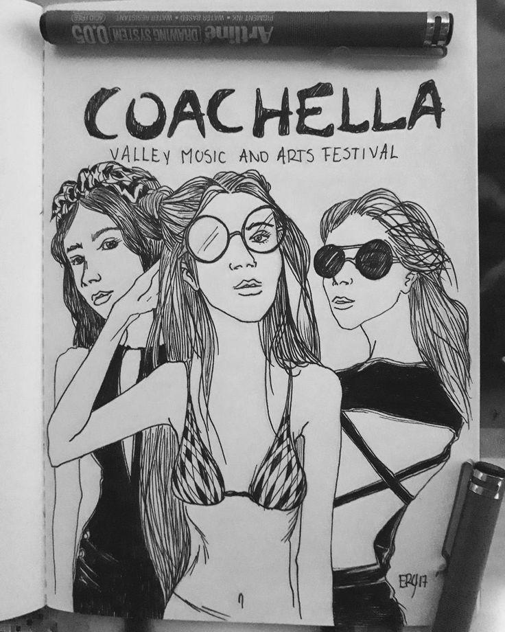Me interesa la forma en como transformaron este festival en un desfile de moda...its more like a fashion festival!!#fashionsketche #sketch #coachella2017