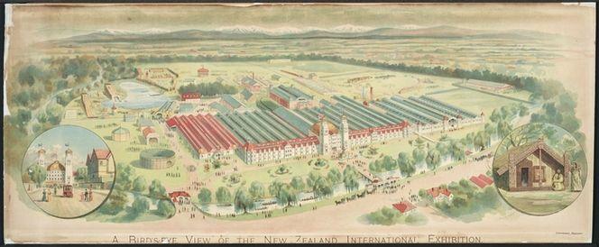 Presants, Philip Robert, 1867-1942 :A bird's eye view of the New Zealand International Exhibition [Christchurch, 1906-07]