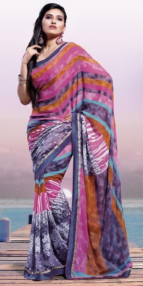 Enchanting Stripes & Floral Print Saree