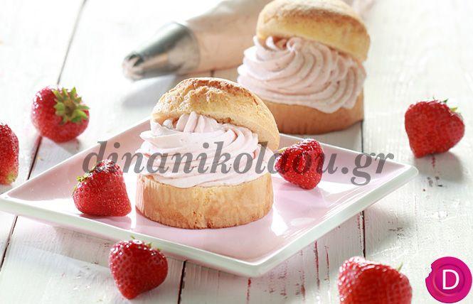 Κέικ γεμιστό με ελαφριά κρέμα φράουλας | Dina Nikolaou