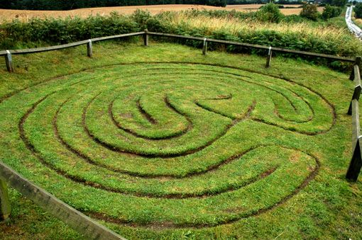 ThThis lovely little turf labyrinth is called the 'City of Troy' and is in northern england, near Dalby in the Howardian Hills of North Yorkshire.
