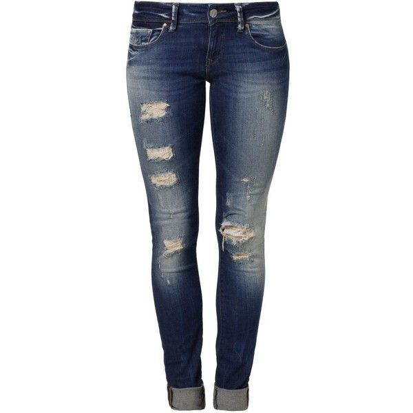 Mavi SERENA Slim fit jeans partly cloudy artist vintage ($87) ❤ liked on Polyvore featuring jeans, pants, bottoms, calças, destroyed denim, distressing jeans, ripped blue jeans, destroyed jeans, blue skinny jeans and ripped skinny jeans