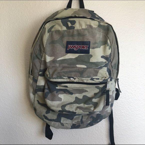 Camo Backpack Lightly used camo Jansport backpack Jansport Bags Backpacks