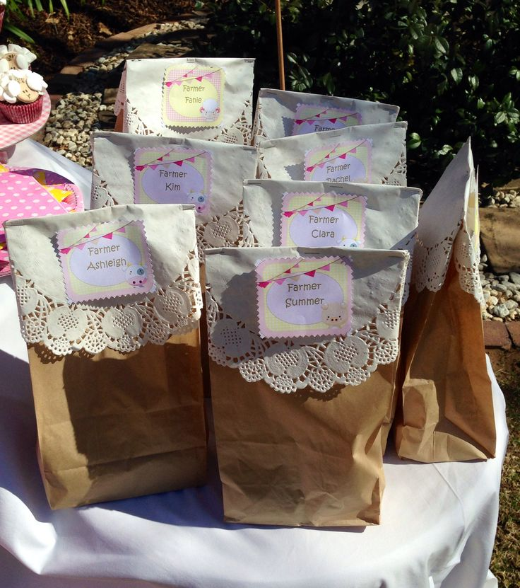 Party bags were kept simple with doilies and brown paper bags