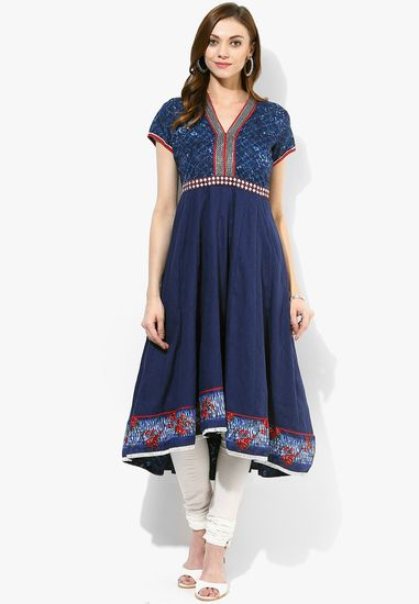 Blue Printed Kurti - Biba Kurtas & kurtis for women | buy women kurtas and kurtis online in indium