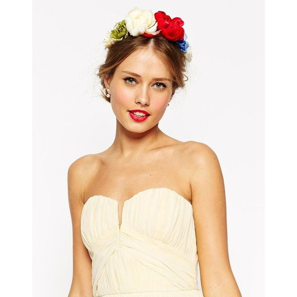 ASOS Summer Mixed Flower Hair Garland ($22) ❤ liked on Polyvore