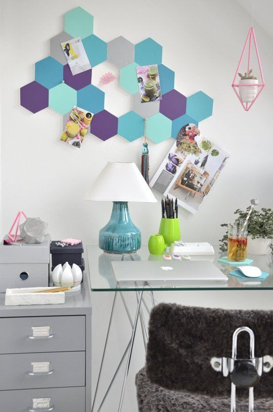 Get colorful with your organization with this honeycomb pin board  - A Little Craft in Your Day #teencraft