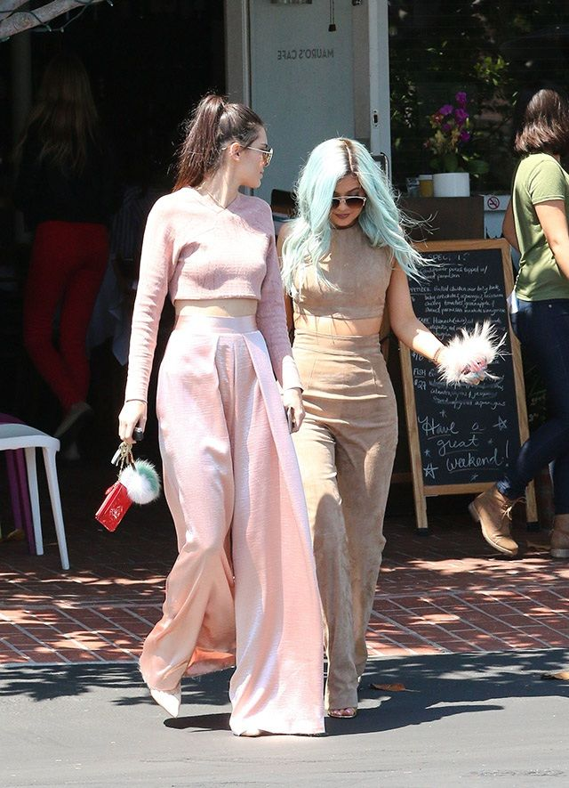 Blush pink and nude head to toe  looks from Kendall Jenner and Kylie Jenner