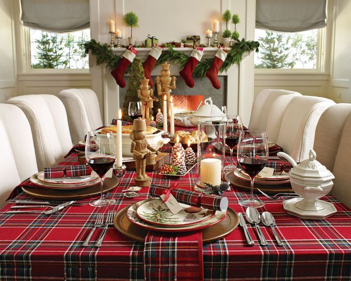 Christmas tartan table cloth. This is why I love white decorating - great contrast