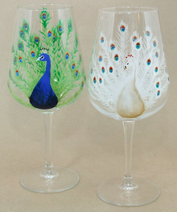 peacock hand painted wine glass by caitibethdesigns on etsy glass art pinterest glass wine and wine glass