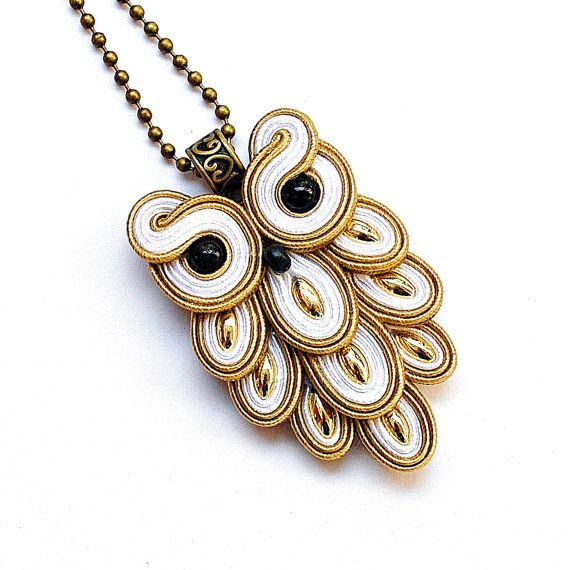 Hey, I found this really awesome Etsy listing at https://www.etsy.com/listing/210567372/soutache-owl-pendant-necklace-golden