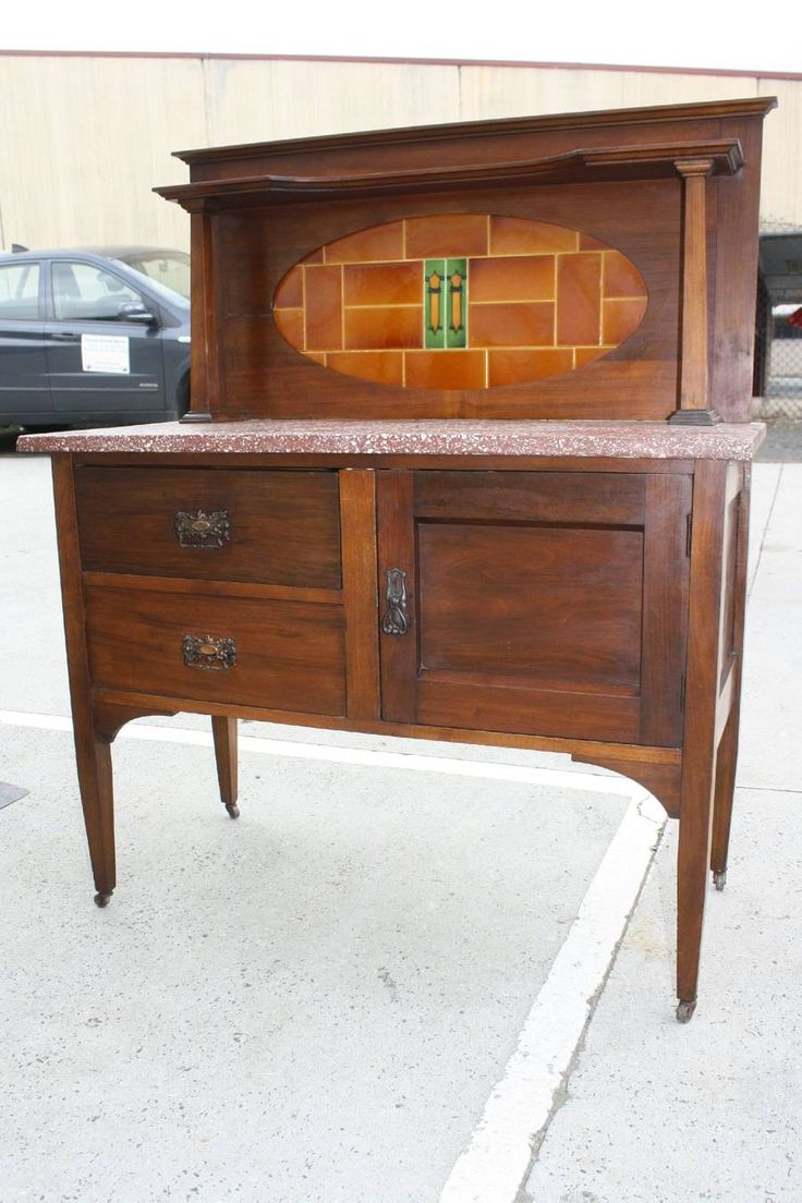 A Blackwood Wash Stand with Marble Top & Tiled Backboard