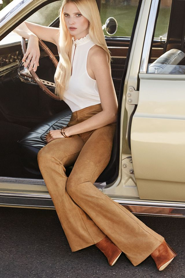 Flares in a soft shade of camel -  The 70s continue to reign supreme this autumn! │ H&M New Elegance
