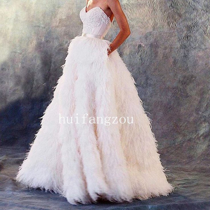Ostrich Feather Wedding Dresses Formal Bridal Gowns Sweetheart Strapless Lace