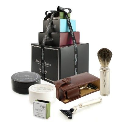Brown leather travel case gift set