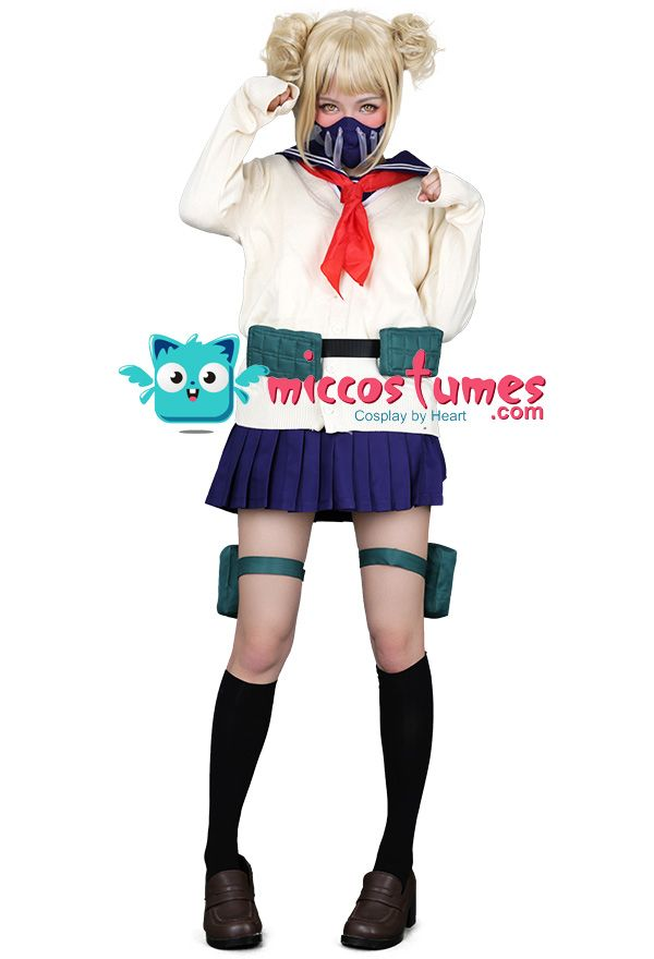 My Hero Academia League Of Villains Himiko Toga Cosplay Costume Jk School Uniform Sweater With Neckwear And Face Covering Cosplay Outfits My Hero Academia Costume Cute Cosplay