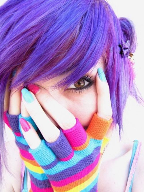 cold weather rainbow timeHair Ideas, Purple Hair, Hair Colors, Shades Of Purple, Purplehair, Gloves, Nails, Bright Colors, Colors Hair