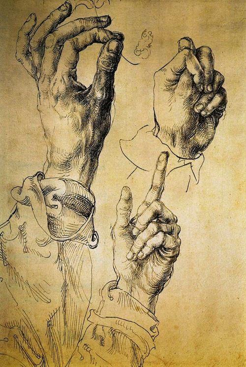 """ALBRECHT DURER """"Study Of Three Hands"""" 1513."""