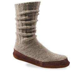 Acorn SLIPPER SOCKS for Men and Women-Light Gray Ragg Wool