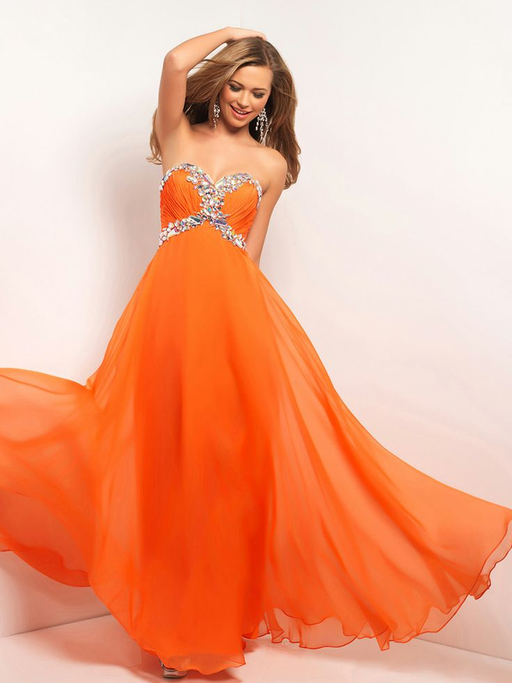 Empire Sweetheart Chiffon Floor-length Rhinestone Prom Dresses at pickedone.com
