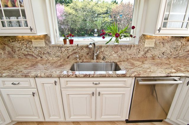 Typhoon Bordeaux Granite With White Cabinets And Stainless