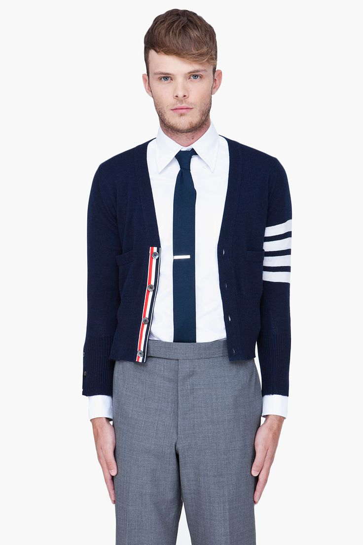 THOM BROWNE Navy Striped Cashmere Cardigan