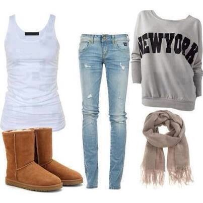 Ugg boots, blue skinny jean, white top, gray crew neck sweater with a brown scarf. Cute and cozy outfit