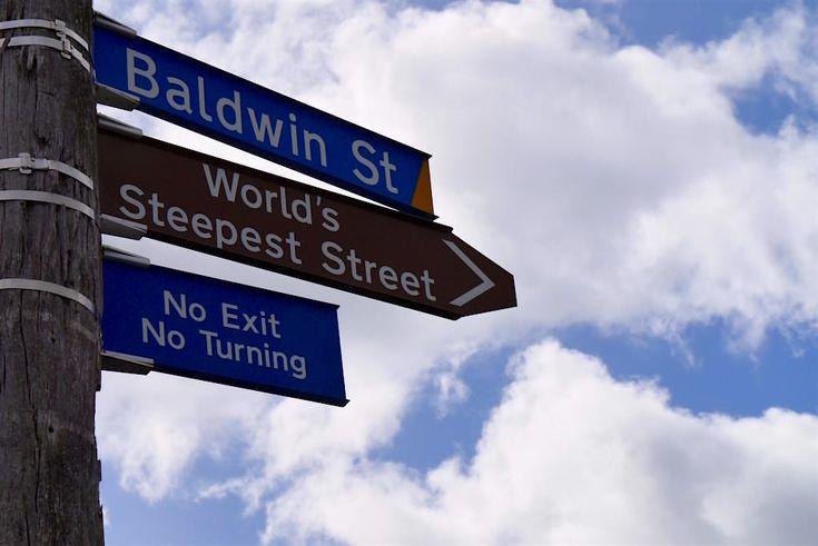 Straßenschild Baldwin Street - Dunedin - Neuseeland Südinsel
