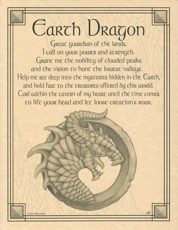 --Earth Dragon Parchment Book of Shadows Page or Poster!