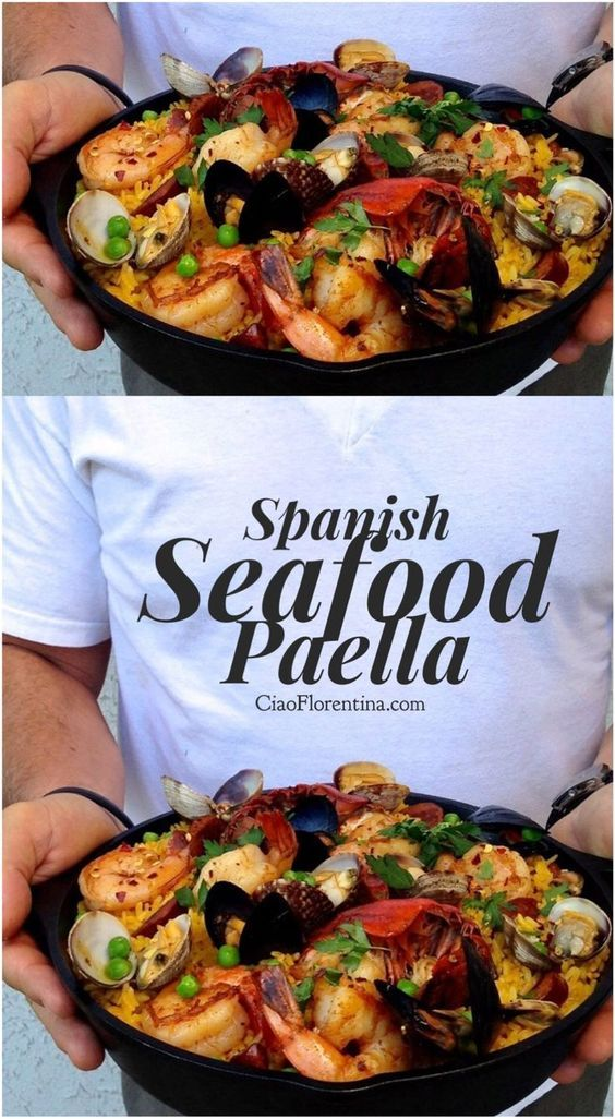 Spanish Seafood Paella Recipe with Lobster, Shrimp, Clams and Mussels | CiaoFlorentina.com @CiaoFlorentina