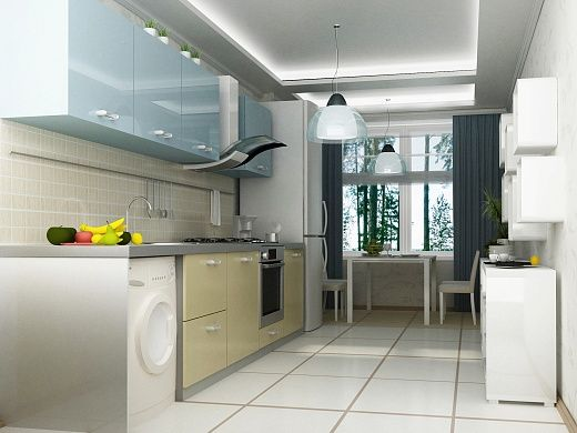 Кухня в квартире стильная и очень светлая. Пол белоснежно белый, а предметы мебели выполнены в деликатном цветовом решении – преобладает бежевый, белый и голубой цвета. Симпатичные подвесные люстры и потолочная светодиодная подсветка придают праздничный шарм всему интерьеру.