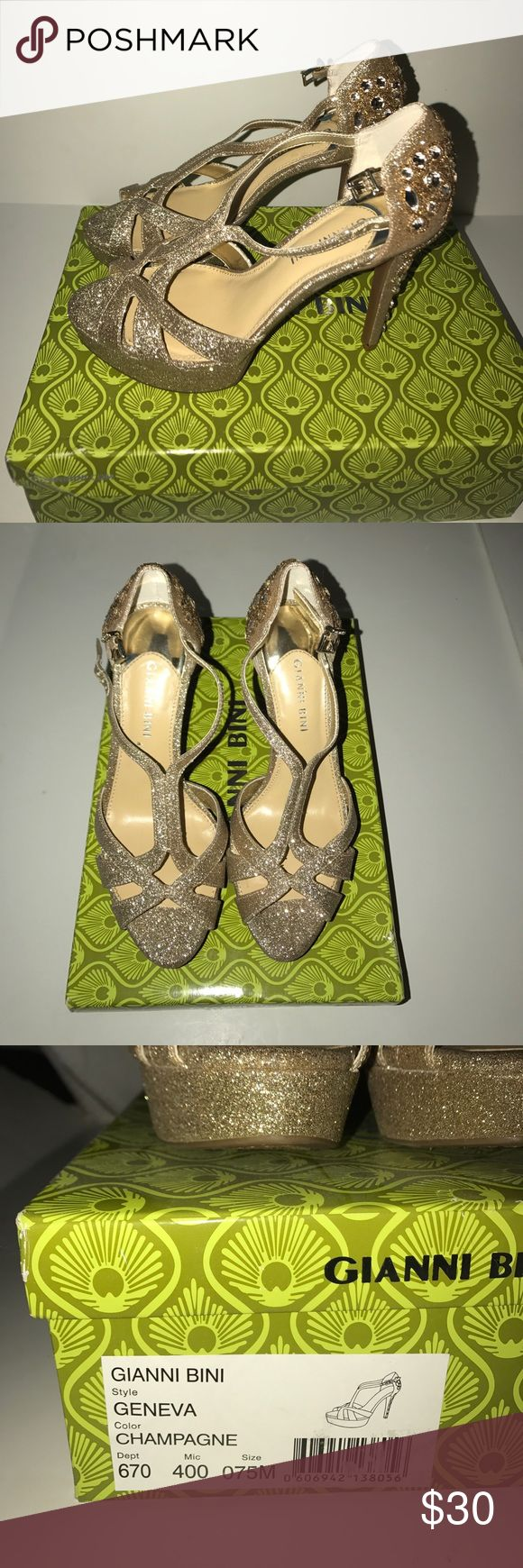 Gianni Bini Geneva Gold Dress Sandal Worn once. Comes with original box. Beautiful high gold heels. Great for special occasions. Size 7.5 Gianni Bini Shoes Heels