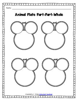 Kindergarten Activities: Animal Plate Math-Counting, Part-Part-Whole, Addit...