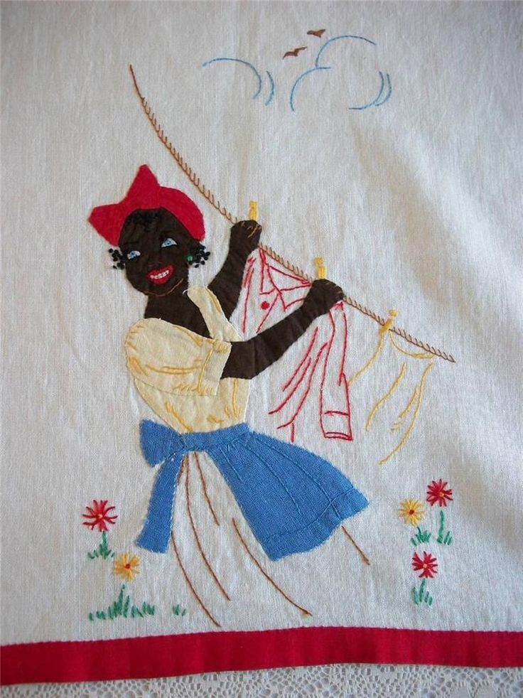 Vintage Black Americana Towel Mammy Applique Embroidery Aunt Jemima Hand Made