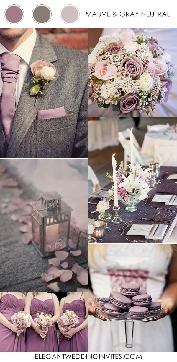 mauve purple and gray neutral wedding colors 2017