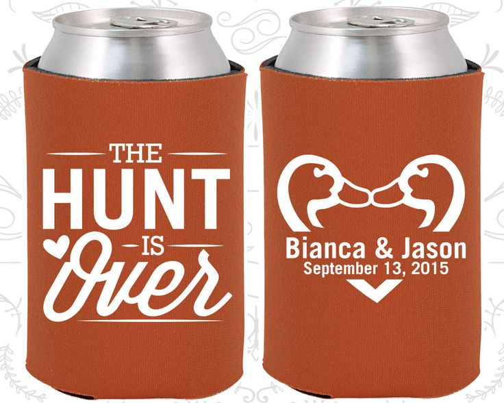 The Hunt is Over Wedding Favors, Personalized Wedding, Hunting Wedding Favors, Duck Hunting Wedding Favors,  Beer Koozies (524)
