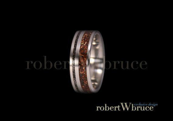 Tyrannosaurus & Meteorite Titanium Ring Dinosaur Bone Groom's Wedding Band - Exclusive rWb Custom Design