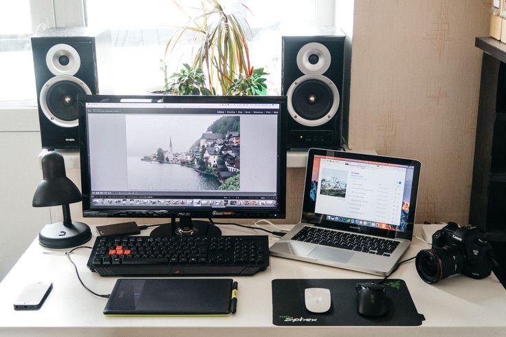 Quick MacBook setup 2017 MacBook Pro 13' 2017 Asus 23' ips display Bamboo pen Magic Mouse A4 tech X7 Bloody keyboard Apple AirPort Canon 5d mark 3