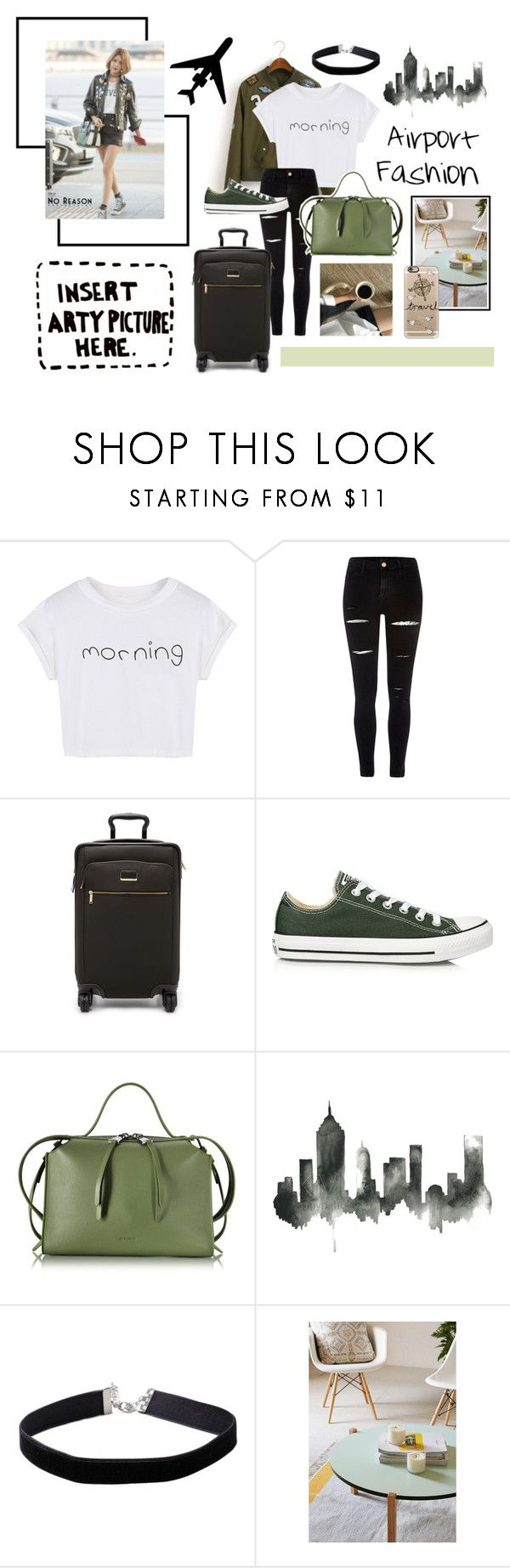 """""""Airport Fashion #8"""" by fashionologysz ❤ liked on Polyvore featuring WithChic, River Island, Tumi, Converse, Jil Sander, WALL, Miss Selfridge, Urban Outfitters, Casetify and Again"""