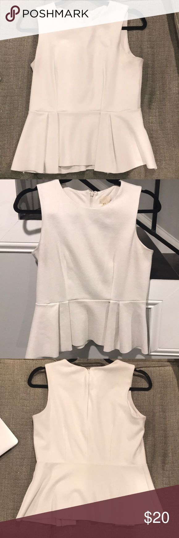 H&M white peplum top with pleated hem H&M white peplum too with pleated hem. Sleeveless top with a crew neck. Material is polyester, elastane and spandex. This top is a great staple piece. very comfortable and flattering on.   Top is a size 8, but it runs small. Fits closer to a size 6. I'm 5'5 and the top ends right at my hip bones. Is tighter around the bust and then flows out on the bottom because of the pleated hem. Has a back zipper. In great condition. Just sent it to the dry cleaners…